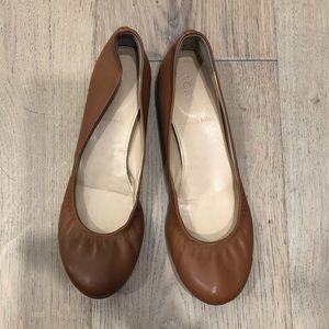 JCrew Anya Leather Ballet Flats (Tan,Burnt Sienna)